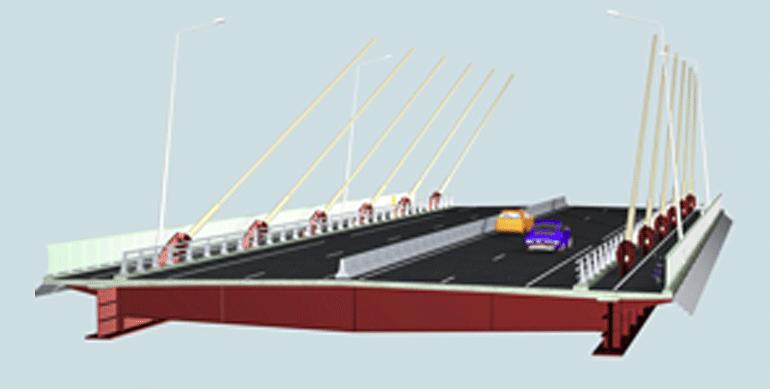 Το κατάστρωμα έχει πλάτος 27,2 μέτρα με δύο λωρίδες κυκλοφορίας